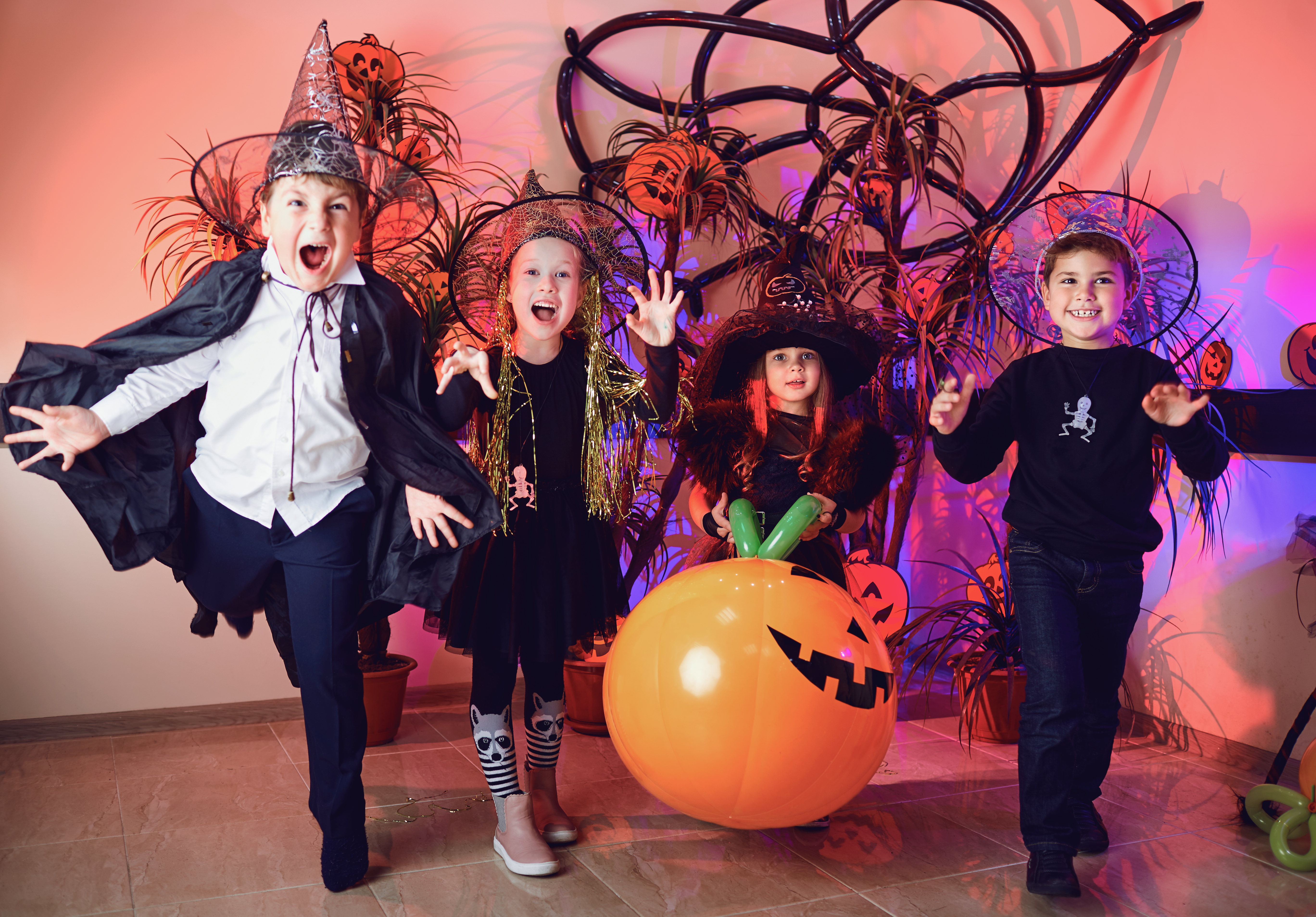 Canva - A Group of Children in Costumes on a Halloween Holiday