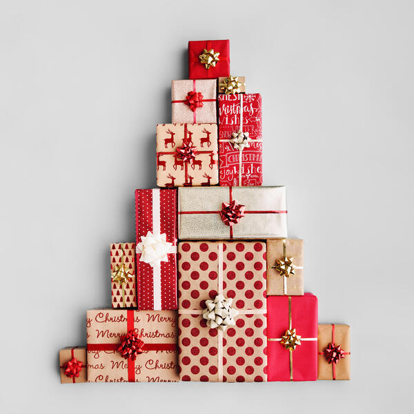 Canva - Christmas Tree Made from Christmas Gifts