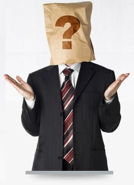 Man with a bag with question mark on it over his head